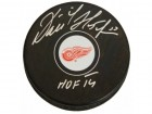 Dominik Hasek Signed Detroit Red Wings Logo Hockey Puck w/HOF'14
