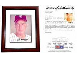Joe Dimaggio Signed - Autographed New York Yankees 8x10 inch Photo MAHOGANY CUSTOM FRAME - FULL Letter PSA/DNA Certificate of Authenticity (COA LOA)
