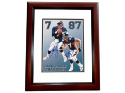 John Elway and Ed McCaffrey DUAL Signed - Autographed Denver Broncos 8x10 inch Photo MAHOGANY CUSTOM FRAME - Guaranteed to pass PSA or JSA