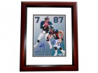 John Elway and Ed McCaffrey DUAL Signed - Autographed Denver Broncos 8x10 inch Photo MAHOGANY CUSTOM FRAME - PSA/DNA Certificate of Authenticity (COA)