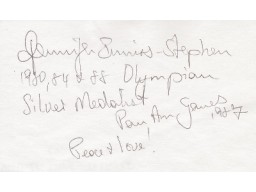 Jennifer Enniss Stephen Signed - Autographed Olympic 3x5 Inch Index Card - Guaranteed to pass PSA or JSA with Inscriptions