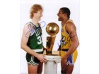 Magic / Bird, Larry Johnson Signed 8x10 Photo By Magic Johnson and Larry Bird