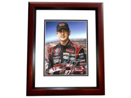 Kurt Busch Signed - Autographed Auto Racing 8x10 inch Photo MAHOGANY CUSTOM FRAME - Guaranteed to pass PSA or JSA