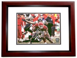 Larry Johnson Signed - Autographed Kansas City KC Chiefs 8x10 Action Photo MAHOGANY CUSTOM FRAME - Guaranteed to pass PSA or JSA - Horizontal