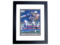 Lawrence Taylor Signed - Autographed New York Giants 4x6 Photo BLACK CUSTOM FRAME - Guaranteed to pass PSA or JSA - 2x Super Bowl Champion