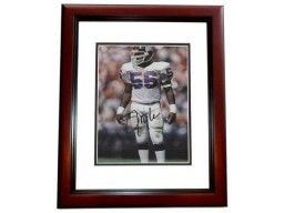 Lawrence Taylor Signed - Autographed New York Giants 4x6 Photo - 2x Super Bowl Champion MAHOGANY CUSTOM FRAME - Guaranteed to pass PSA or JSA