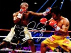 Floyd Mayweather Jr. Signed Boxing Fighting Manny Pacquiao 8x10 Photo