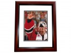 Martin Brodeur Signed - Autographed New Jersey Devils 8x10 Photo MAHOGANY CUSTOM FRAME - 3x Stanley Cup Champion