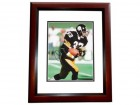 Merrill Hoge Signed - Autographed Pittsburgh Steelers 8x10 inch Photo MAHOGANY CUSTOM FRAME - Guaranteed to pass PSA or JSA