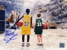 MAGIC JOHNSON SIGNED 8X10 PHOTO - MAGIC/BIRD CHILDREN AT THE BOSTON GARDEN