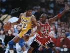 MAGIC JOHNSON SIGNED 8X10 PHOTO - VS. MICHAEL JORDAN 2