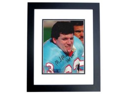 Mike Munchak Signed - Autographed Houston Oilers 8x10 inch Photo BLACK CUSTOM FRAME - Guaranteed to pass PSA or JSA - HALL OF FAME 2001 INSCRIPTION