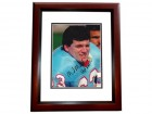 Mike Munchak Signed - Autographed Houston Oilers 8x10 inch Photo MAHOGANY CUSTOM FRAME - Guaranteed to pass PSA or JSA - HALL OF FAME 2001 INSCRIPTION