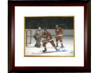 Gordie Howe signed Detroit Redwings 8x10 Photo vs Montreal Canadiens Custom Framed