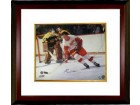Gordie Howe signed Detroit Redwings 16x20 Photo vs Boston Bruins (black sig) Custom Framed