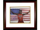 Sheryl Swoopes signed 16x20 Photo Custom Framing Team USA Olympics w/ US Flag 3X Gold (WNBA Basketball)