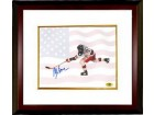 Mike Eruzione signed 1980 Team USA Olympic Hockey 16X20 Photo Custom Framed w/ Flag- Game Winning Goal Miracle on Ice