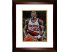 Clyde Drexler signed Portland Trail Blazers 16x20 Photo Custom Framed HOF 04 (foul shot spotlight)