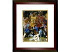 Magic Johnson signed Los Angeles Lakers 8x10 Photo Custom Framed  (yellow jersey post up dribble vertical vs Jordan- black sig)