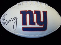 Eli Manning (New York Giants) Signed White Panel Football With the Giants Logo