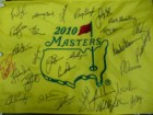 Masters (2010) Signed 2010 Masters Flag By 29 Players (Tiger Woods, Arnold Palmer, Jack Nicklaus, Gary Player, Phil Mickelson, Fred Couples, Doug Ford, Nick Faldo, Ben Crenshaw, Vijay Singh, Trevor Immelman, Tommy Aaron, Jack Burke, Ray Floyd, Sandy Lyle,
