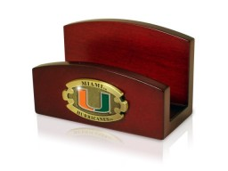 Miami University Wooden Business Card Holder With Universitys Logo