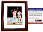Pete Rose Signed - Autographed Cincinnatti Reds 8x10 Record Breaking Photo - All Time Hit King MAHOGANY CUSTOM FRAME - PSA/DNA Certificate of Authenticity (COA)