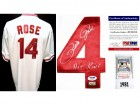 Pete Rose Signed - Autographed Cincinnatti Reds Authentic 1981 Jersey with HIT KING Inscription and Mounted Memories - PSA/DNA Certificate of Authenticity (COA)