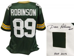 Dave Robinson Signed Green Throwback Custom Football Jersey w/HOF 2013
