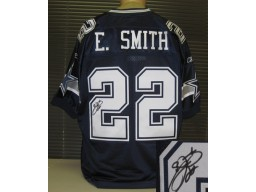 Emmitt Smith Autographed Blue Cowboys Reebok Jersey