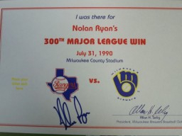 Nolan Ryan (Texas Rangers) Signed 300th Win Certificate. Includes 8x10 photo and ticket from the grand occasion