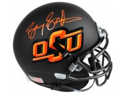 Barry Sanders Signed Oklahoma State Cowboys Black Schutt Mini Helmet