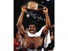 Leon Spinks Signed Boxing Holding Championship Belt 8x10 Photo
