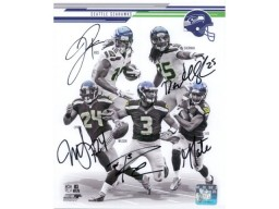 Seattle Seahawks (2013-14 Super Bowl Champions) Signed 8x10 Photo By Russell Wilson, Richard Sherman, Golden Tate, Sidney Rice and Marshawn Lynch