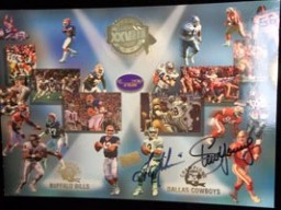 Super Bowl XXVIII (Troy Aikman / Steve Young) Signed 10x14 Promo Card By Troy Aikman and Steve Young