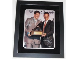 Tim Tebow and Urban Meyer DUAL Signed - Autographed Florida Gators 11x14 Heisman Photo - Custom FRAME - Guaranteed to pass PSA or JSA