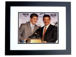 Tim Tebow and Urban Meyer Unsigned Florida Gators Heisman Trophy 9x11 inch Photo BLACK CUSTOM FRAME