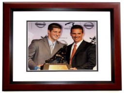 Tim Tebow and Urban Meyer Unsigned Florida Gators Heisman Trophy 9x11 inch Photo MAHOGANY CUSTOM FRAME
