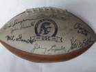 USC Trojans / Notre Dame Fighting Irish Signed USC 1888-1898 Logo Football by the USC/Notre Dame Heisman Trophy Winners (11 Signatures in All, Marcus Allen, Tim Brown, Johnny Lattner, Paul Hornung (Light Signature), Johnny Lujack, John Huarte, OJ Simpson,