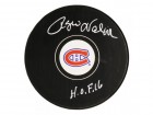 Rogie Vachon Signed Montreal Canadians Logo Hockey Puck w/HOF'16