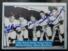 New York 1952 Yankees (Berra/Collins/Bauer/Woodling) Signed 1982 The Mickey Mantle Story Baseball Card (# 19)