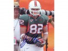 Greg Olsen Miami Hurricanes Autographed / Signed Green Jersey 8x10 Photo