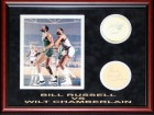 Bill Russell & Wilt Chamberlain Autographed Framed Coasters w/ Unsigned Photo (JSA)