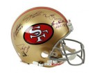 San Francisco 49ers Throwback Pro Line Helmet Autographed by 10 HOF Athletes all signed with HOF and the year of induction.