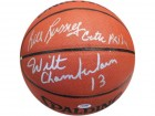 "Bill Russell ""Celtic Pride"" & Wilt Chamberlain Autographed Leather Basketball (PSA)"