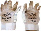 Todd Frazier Autographed 2014 Diamond Eltie White on White Game Used Batting Gloves
